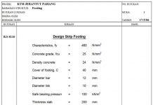 دانلودفایل اکسل طراحی و کنترل پی نواری مطابق آیین نامه BS 8110