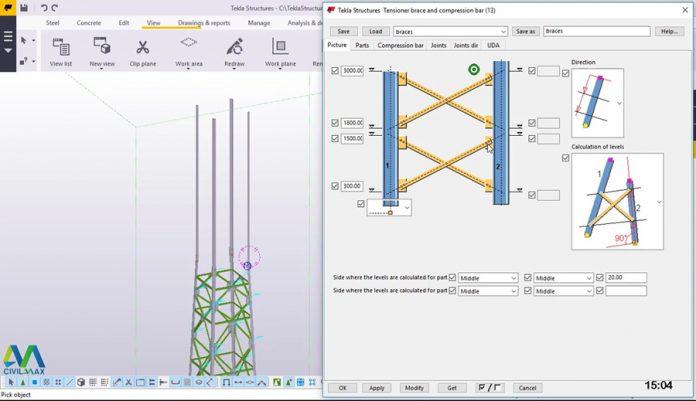 دانلودویدیوی آموزش مدلسازی دکل مخابرات در نرم افزار تکلا Tekla Structures