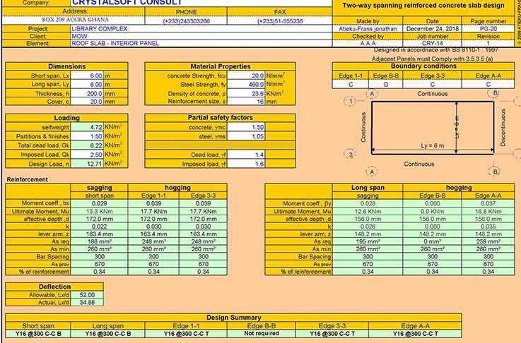 دانلودفایل اکسل طراحی دال دو طرفه بتنی به همراه نمایش ریز محاسبات