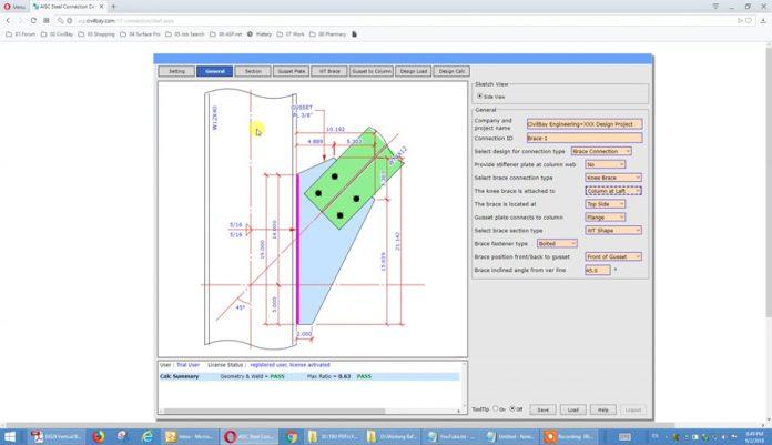 دانلودویدیوی آموزش طراحی آنلاین اتصال زانویی بادبند به ستون مطابق AISC