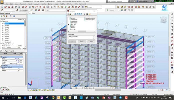 دانلودویدیوی آموزش مدلسازی و طراحی ساختمان 10 طبقه بتنی در نرم افزار Robot Structural