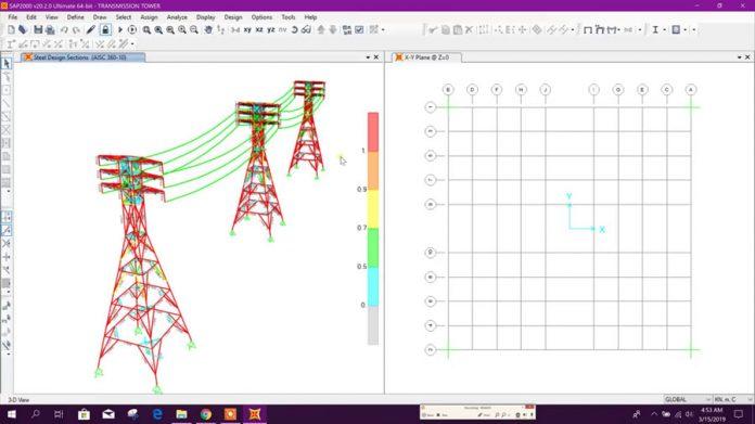 دانلودویدیوی طراحی دکل فشار قوی انتقال نیروی برق در نرم افزار SAP2000