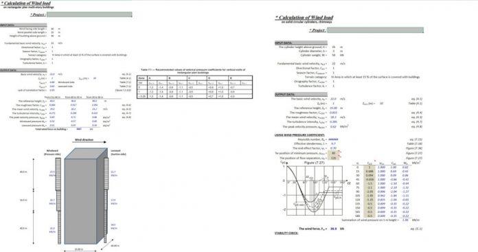 دانلود فایل اکسل محاسبه نیروی باد مطابق آیین نامه EC1: EN 1991-1-4:2005