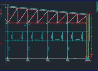 دانلود فایل اتوکد نقشه سازه صنعتی یا سقف خرپایی
