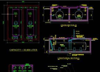 دانلود فایل اتوکد نقشه مخزن سوخت داخل زمین به همراه جزئیات سازه ای