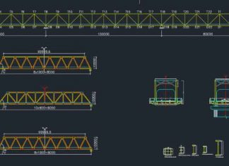 دانلود نقشه اتوکد ازبیلت (چون ساخت) پل خرپایی