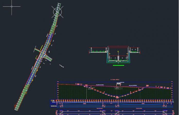 دانلود فایل اتوکد مقطع عرضی و طولی تونل