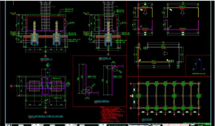 دانلود فایل اتوکد نقشه کلاهک گروه شمع های بتنی به همراه جزئیات اتصال به شمع