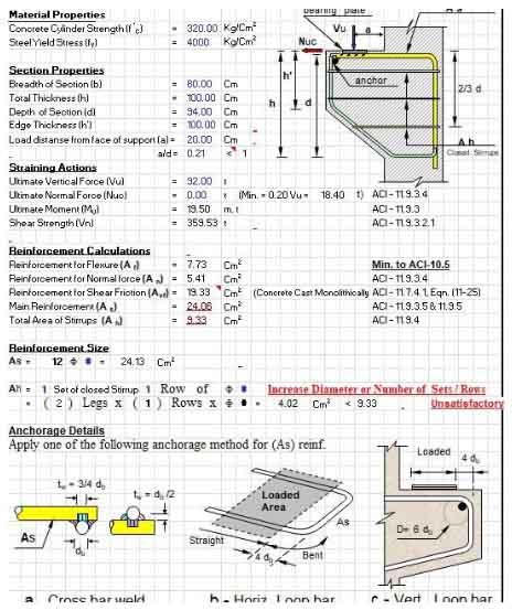 دانلود فایل اکسل طراحی کربال و برکت بتنی مطابق آیین نامه ACI318-99