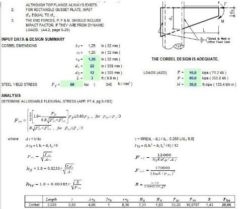 دانلود فایل اکسل آنالیز و طراحی کربل فلزی جهت نصب بر ستون فلزی
