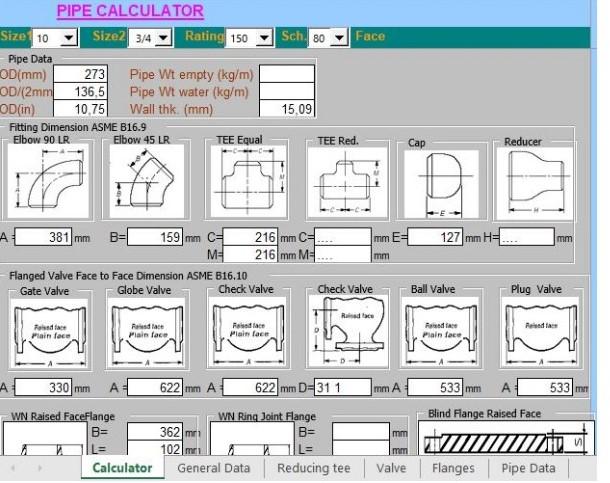 دانلود فایل اکسل محاسبات لوله ها و اتصالات