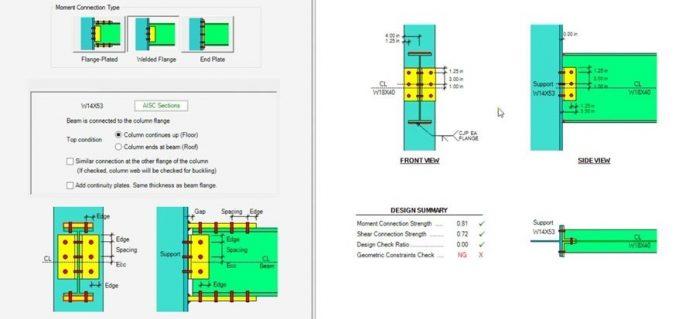 دانلود ویدیوی آموزش مدلسازی و طراحی اتصال خمشی فولادی در نرم افزار ASDIP STEEL
