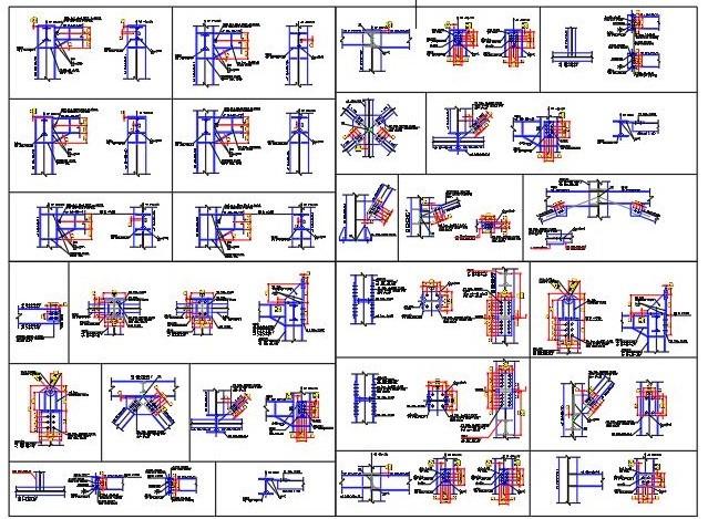 دانلود فایل اتوکد نقشه جزئیات اتصالات فولادی جوشی و پیچی تیر به ستون