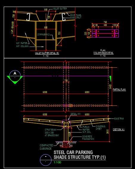 دانلود فایل اتوکد نقشه سایبان فلزی پارکینگ
