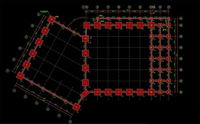 دانلود نقشه اتوکد معماری و سازه فلزی مسجد