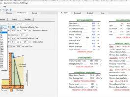 ویدیوی آموزش طراحی دیوار حائل طره ای جلوبند دار و پشت بنددار بتنی در نرم افزار ASDIP