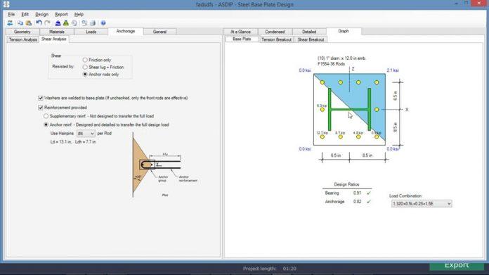 ویدیوی آموزش طراحی پایه ستون فلزی با خمش دو محوره در نرم افزار ASDIP STEEL