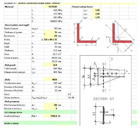 دانلود فایل اکسل طراحی و کنترل اتصال پیچی اعضای مهاربندی با مقاطع نبشی به ورق تحت بار محوری